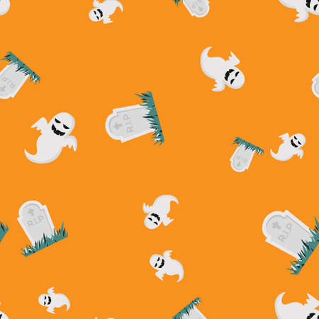 Ghost grave Halloween pattern seamless. Vector illustration. Orange background. All Saints Eve.