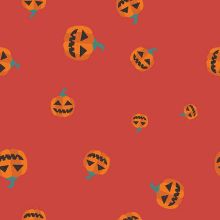 Orange pumpkin Halloween pattern seamless. Vector illustration. Red background. All Saints Eve.