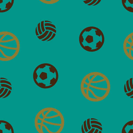 Basketball, football, volleyball ball pattern seamless. Vector illustration. Turquoise background.