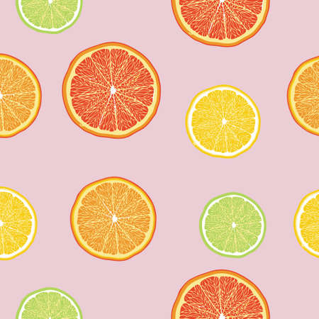 Seamless pattern slice oranges, lemons, limes, grapefruits.  illustration. Food wallpapers from citrus fruit. Pink background.