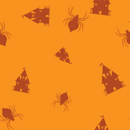 Castle spider Halloween pattern seamless. Vector illustration. Orange background. All Saints Eve.  イラスト・ベクター素材