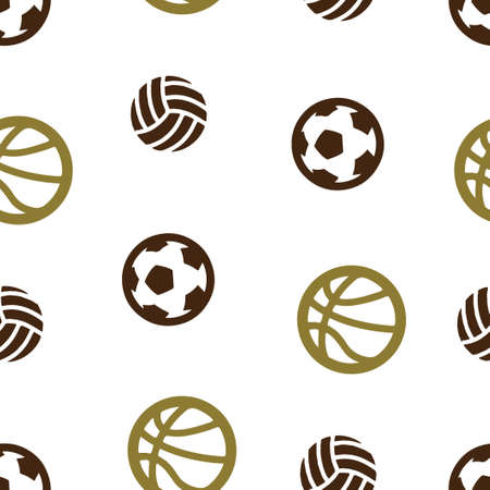 Basketball, football, volleyball ball pattern seamless.  illustration. Isolated white background. Banque d'images - 105207557