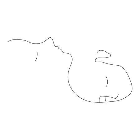Mother with baby continuty one line. illustration. Isolated white background.