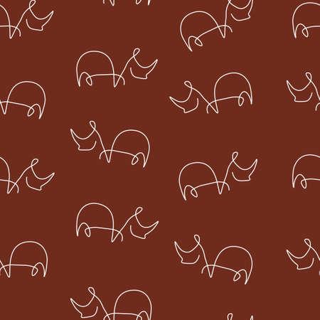 Rhinoceros animal pattern seamless. Vector illustration. Brown background.
