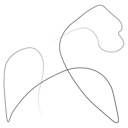 Gorilla animal one line.  illustration. Isolated white background.