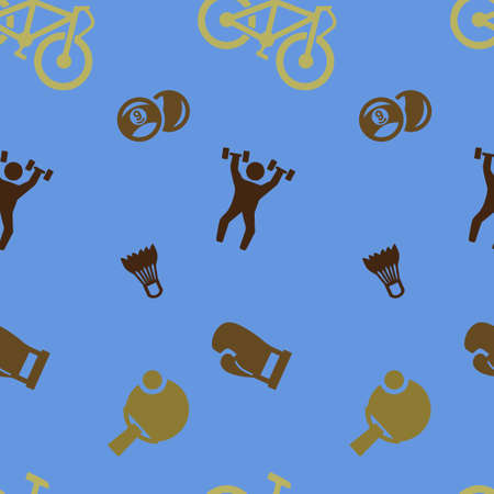 Sports games set pattern seamless. Billiards, table tennis, boxing, weightlifting, badminton. Vector illustration. Blue background.