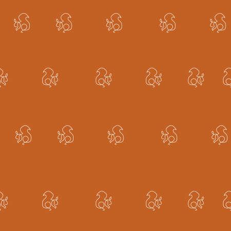 Squirrel animal pattern seamless. Vector illustration. Brown background.  イラスト・ベクター素材