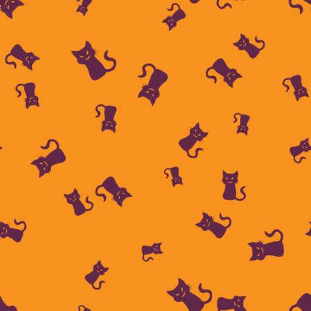 Sinister cat Halloween pattern seamless. Vector illustration. Purple cat orange background. All Saints Eve.
