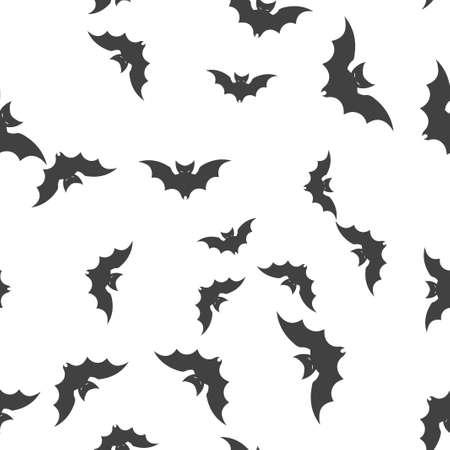 Bat Halloween pattern seamless.  illustration. Isolated white background. All Saints Eve.