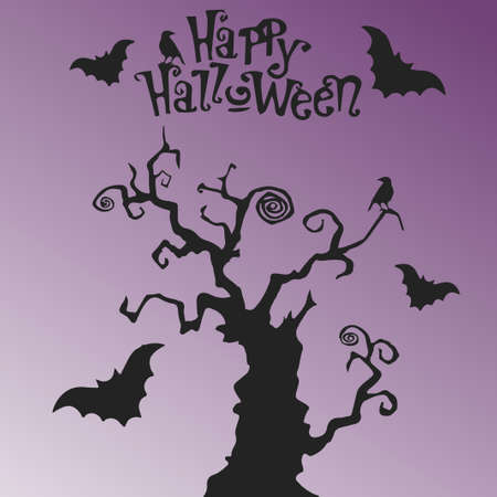 Mystic tree Happy Halloween. Vector illustration with text. Purple background with gradient. 向量圖像