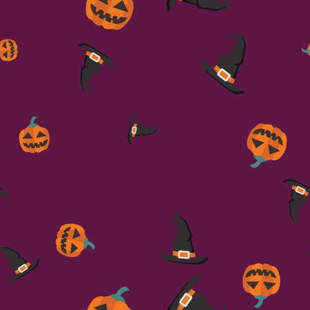 Pumpkin, Witch hat Halloween pattern seamless. Vector illustration. Purple background. All Saints Eve.