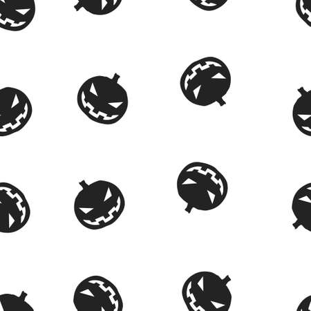Pumpkin Halloween pattern seamless.  illustration. Isolated white background. All Saints Eve. Stock Photo