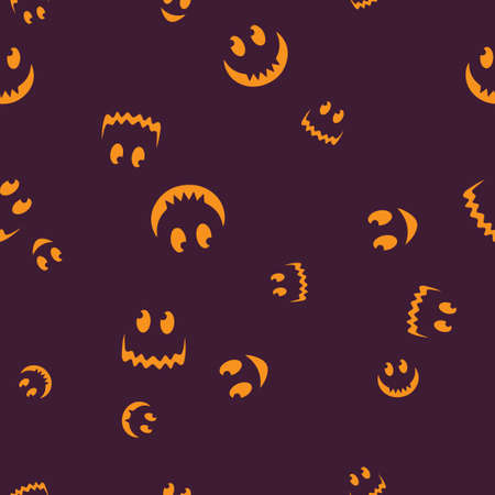 Happy face Halloween seamless pattern. Vector illustration. Bright background. All Saints Eve.