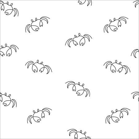 Crab animal pattern seamless.  illustration. Isolated white background.