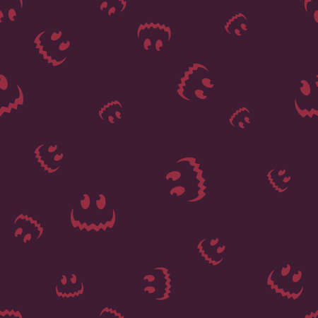 Smiling smile Halloween pattern seamless. Vector illustration. Purple background. All Saints Eve.