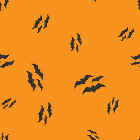 Three bat Halloween pattern seamless. Vector illustration. Orange background. All Saints Eve.