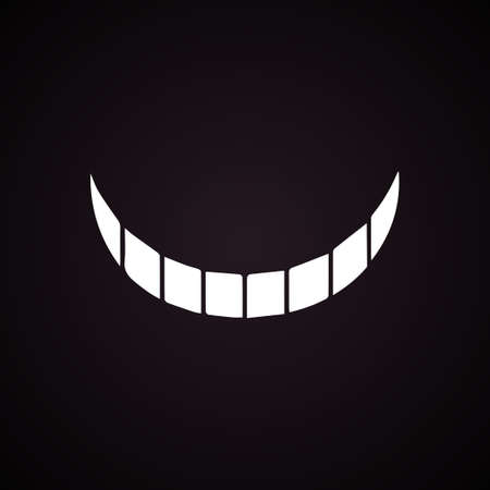 Smile Cheshire cat. Vector illustration. Halloween. White smile black background with gradient.