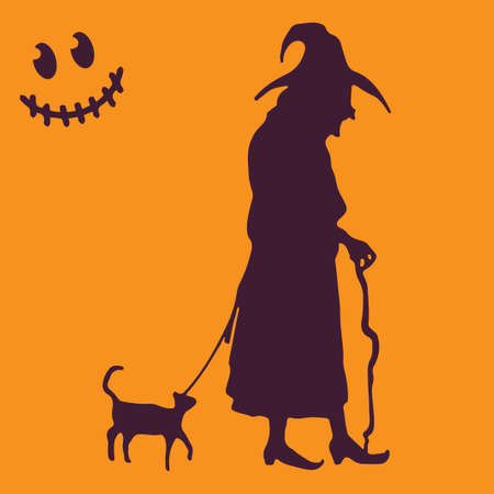 Witch cat Halloween. Vector illustration. Orange background.
