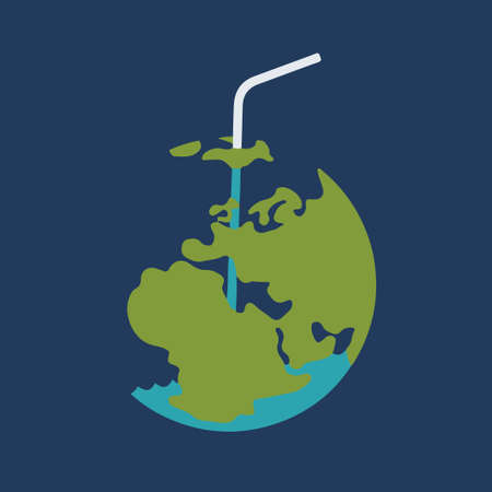 Drank planet Earth through straw. Vector illustration. Ecological problems.