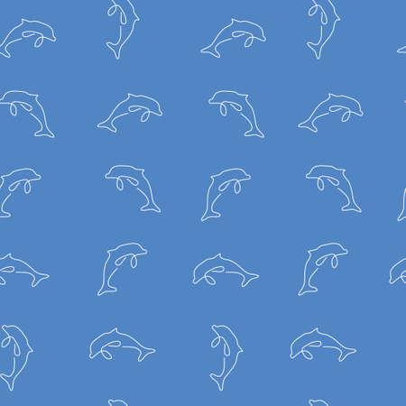Dolphin animal pattern seamless.  illustration. Blue background. 版權商用圖片