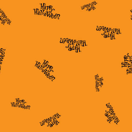Happy Halloween pattern seamless.  illustration. Black text orange background. All Saints Eve.