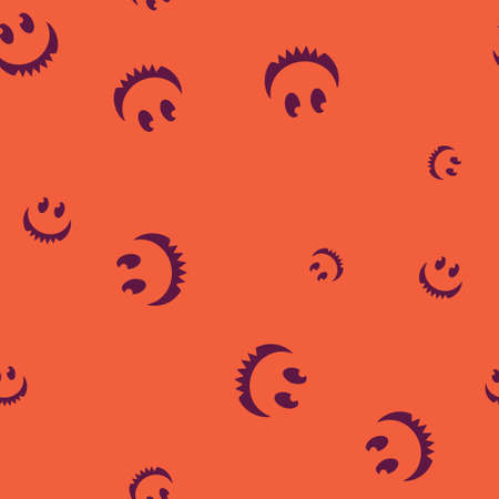 Cheerful face Halloween seamless pattern.  illustration. Bright background. All Saints Eve.