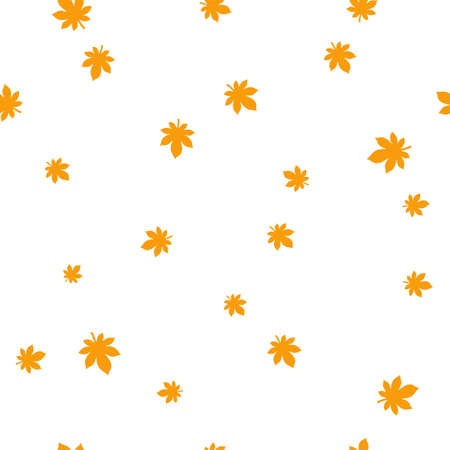 Chestnut leaf orange pattern seamless. Vector illustration. Isolated white background.
