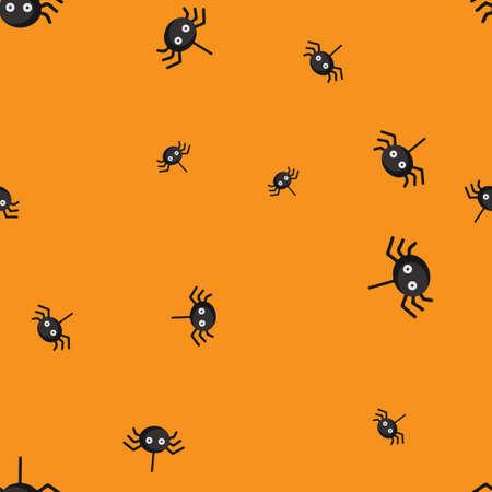 Spider eyed Halloween pattern seamless.  illustration. Orange background. All Saints Eve.