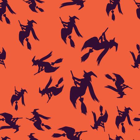 Witch broomstick Halloween pattern seamless.  illustration. Purple witch orange background. All Saints Eve. 版權商用圖片