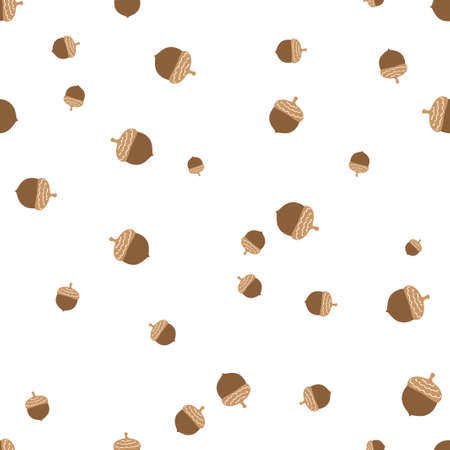 Acorn seamless pattern. Vector illustration. Isolated white background.