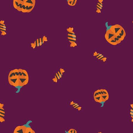 Sweet pumpkin Halloween pattern seamless.  illustration. Purple background. All Saints Eve.