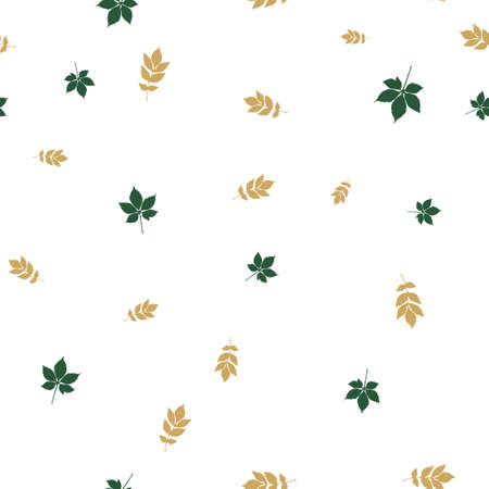 Ash and chestnut leaves pattern seamless. Vector illustration. Isolated white background.
