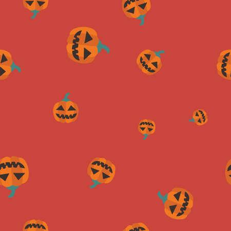 Orange pumpkin Halloween pattern seamless.  illustration. Red background. All Saints Eve. 版權商用圖片