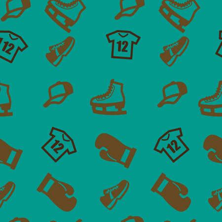 Sport pattern seamless.  illustration. Turquoise background. Stock Photo