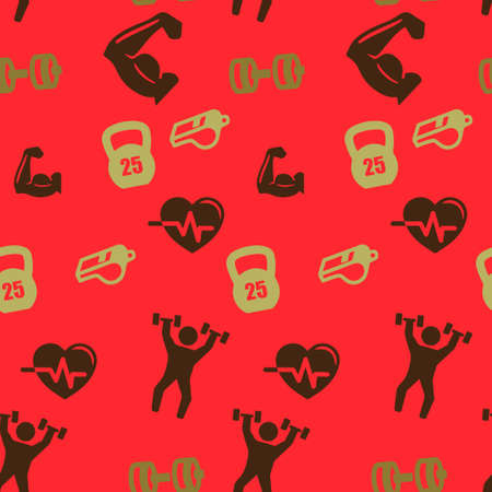 Sports set pattern seamless.  illustration. Red background.