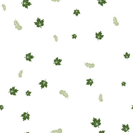 Maple and oak leaf green pattern seamless. Vector illustration. Isolated white background.