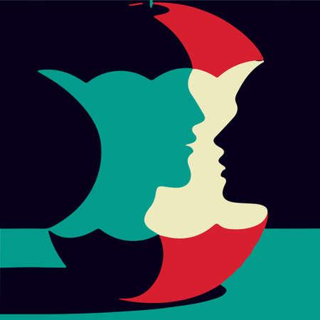 Silhouettes homme et femme dans une souche de pomme. illustration. Illusion d'optique.