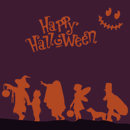 Crowd people Happy Halloween.  illustration with text. Purple background and orange crowd.
