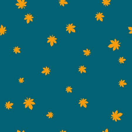 Chestnut leaf orange pattern seamless color. Vector illustration. Blue background.
