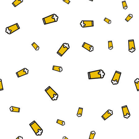 Glass beer seamless pattern. Vector illustration. Isolated white background.