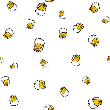 Mug beer pattern seamless. Vector illustration. Isolated white background.