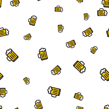 Mug beer seamless pattern. Vector illustration. Isolated white background. Illustration