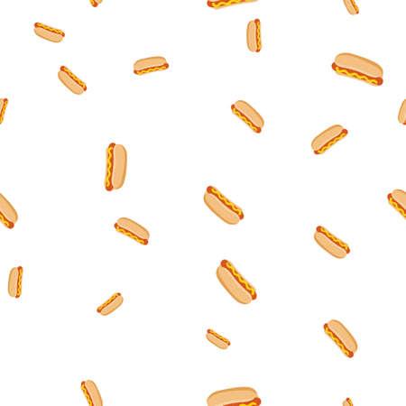 Hot dog pattern seamless. Vector illustration. Isolated white background.