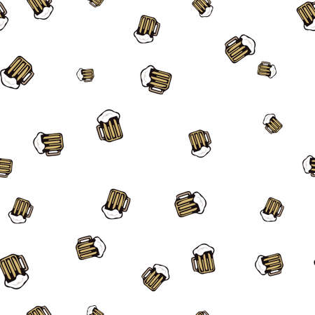 Tankard beer seamless pattern. Vector illustration. Isolated white background.