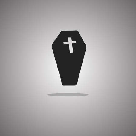 Coffin Halloween. Vector illustration. Gray background with gradient. 向量圖像