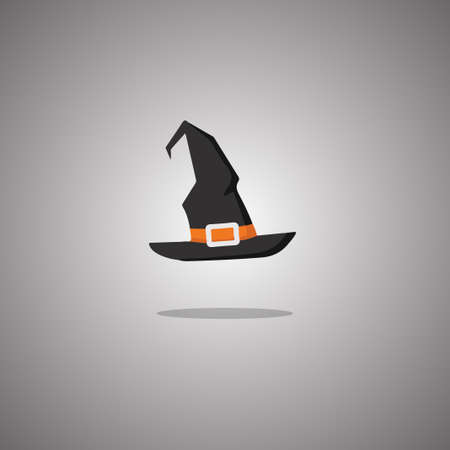 Halloween witch hat. Vector illustration. Isolated white background.