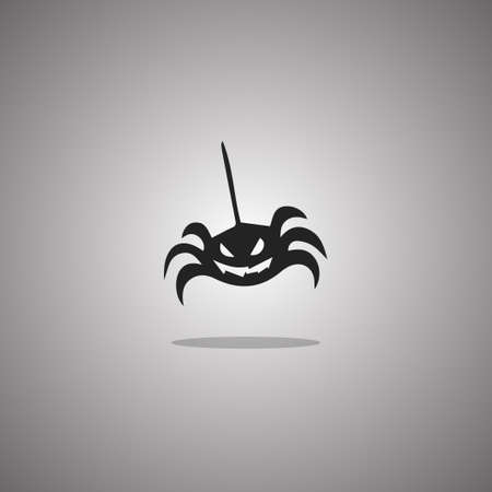 Silhouette spider. Vector illustration. Isolated white background.