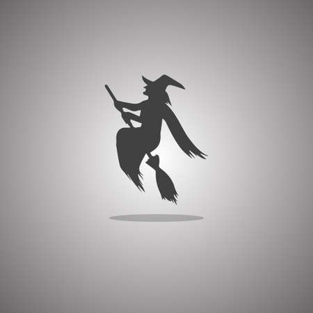 Witch broomstick Halloween. Vector illustration. Gray background with gradient.