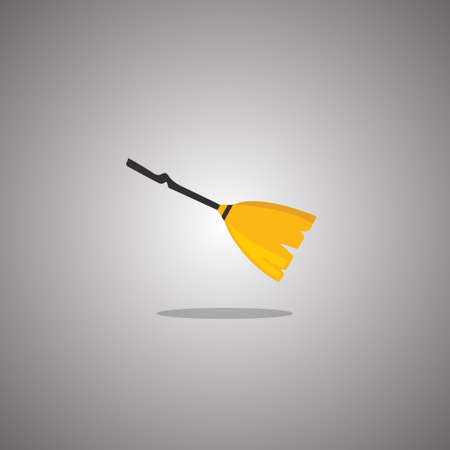 Broom witch Halloween. Vector illustration. Isolated white background.