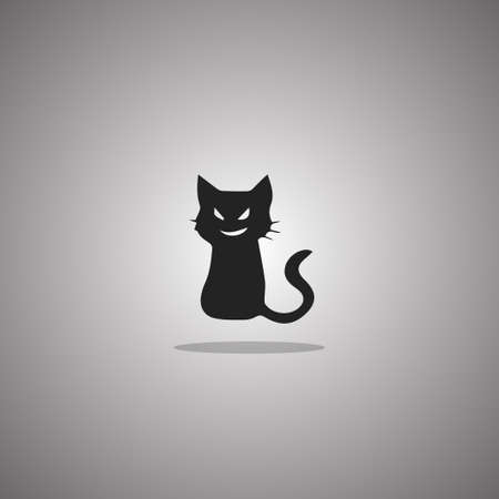 Smirk cat silhouette. Vector illustration. Isolated white background.